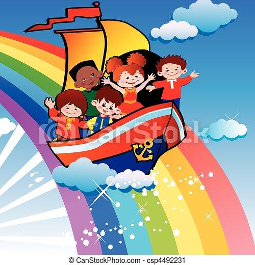 Children floating over the rainbow. - csp4492231
