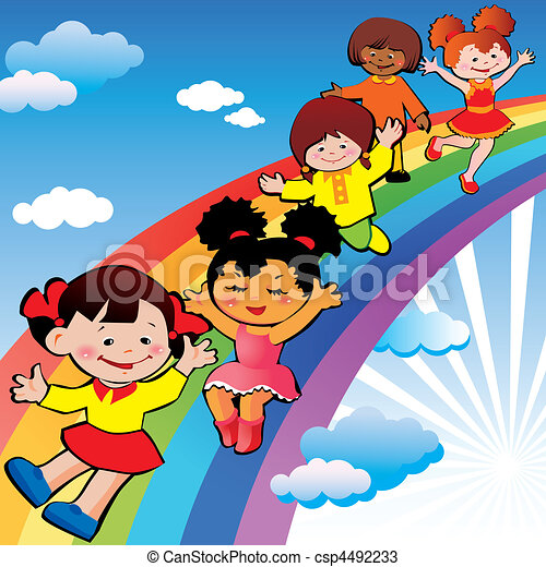 Children on rainbow slide. - csp4492233