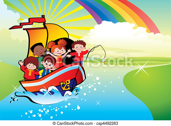 Children floating by a boat. - csp4492263