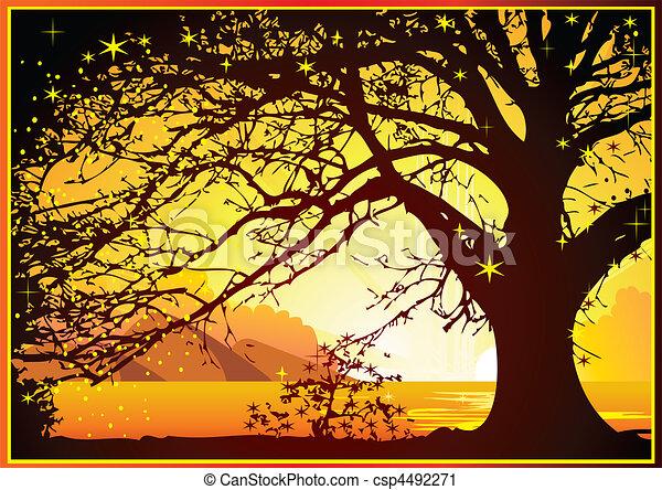 Sunrise on the ocean. - csp4492271