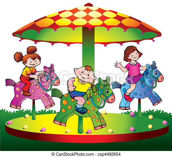 Children ride on the carousel. - csp4492654