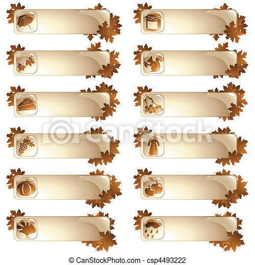 Set of 12 autumnal labels - csp4493222