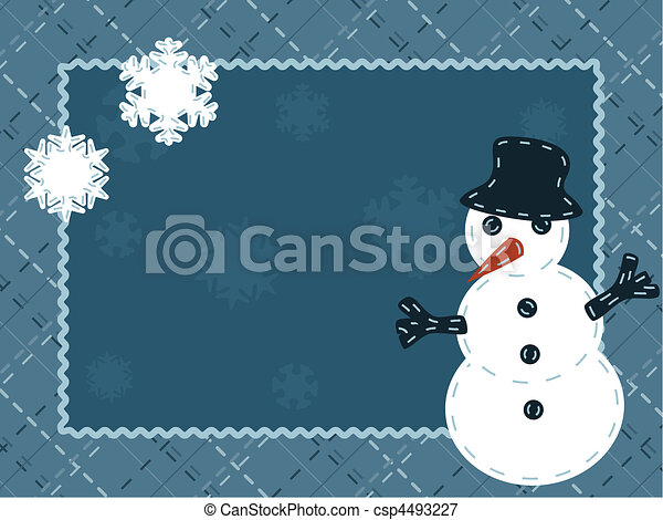 Quilted winter card with a snowman - csp4493227