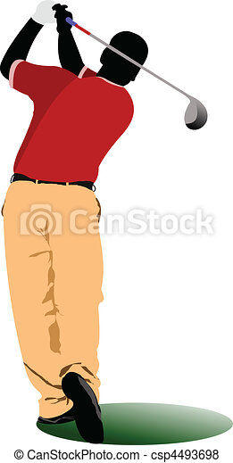Golfer hitting ball with iron club - csp4493698