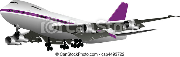 Passenger Airplanes.  Colored Vector - csp4493722