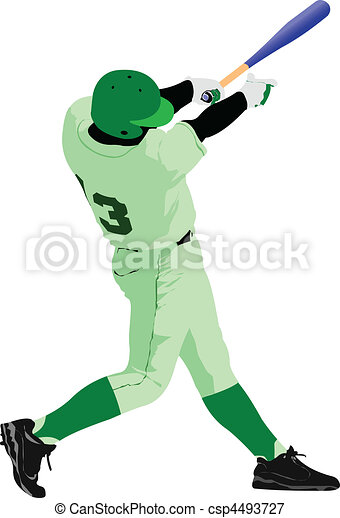 Baseball player. Colored Vector - csp4493727