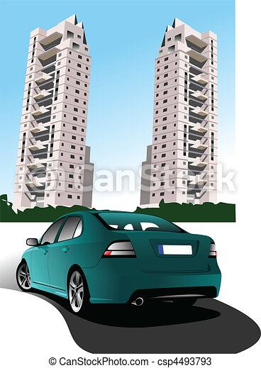 Dormitory and green car sedan. Vec - csp4493793