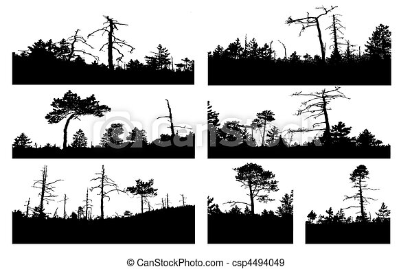 vector silhouettes tree on white background - csp4494049