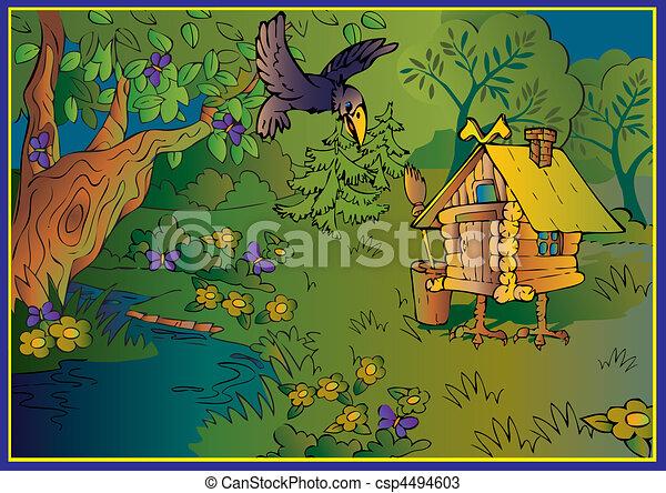 Hut on chicken legs in woods. - csp4494603