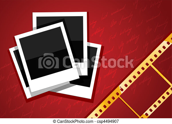 photo shots and gold film on red background - csp4494907