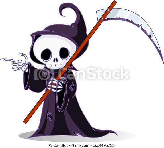 Cartoon grim reaper  pointing - csp4495733