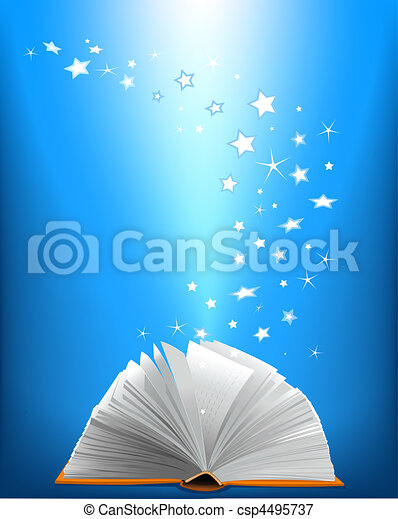 An opened magic book - csp4495737