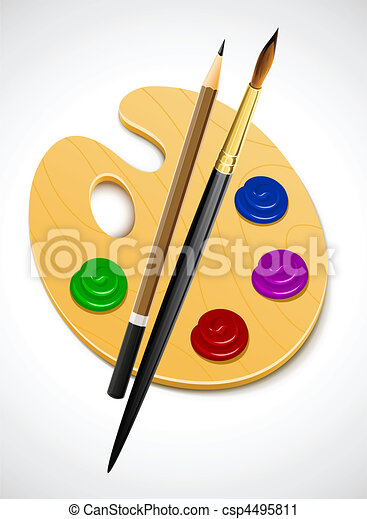 art palette and instrument for drawing - csp4495811