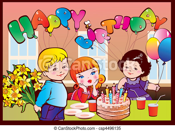 Clipart Vector of Happy birthday party. Good childhood. Vector ...