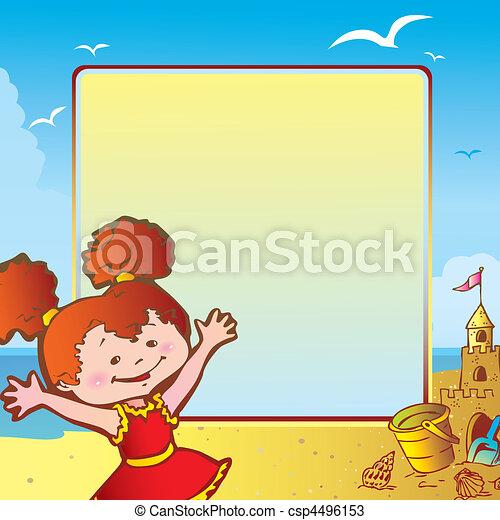 Girl on the beach. - csp4496153