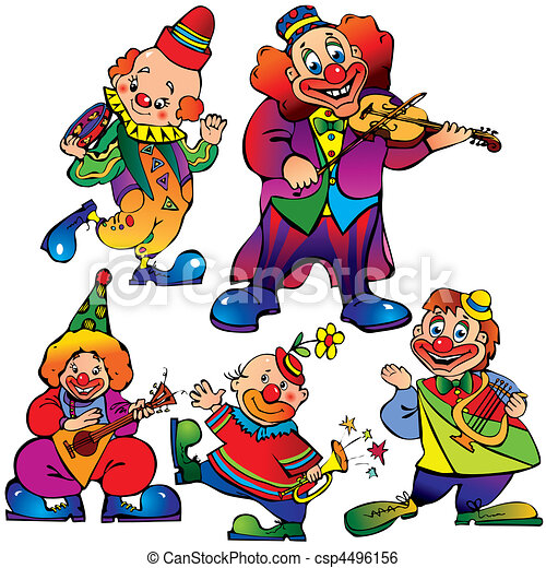Clip Art Vector of Clowns. - Funny clowns with musical instrument ...