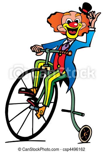 Vektor Illustration Av Rolig Clown Ritt Cykel Vektor