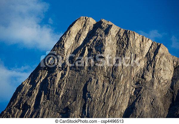 Montaña, tarde, pico, luz - csp4496513