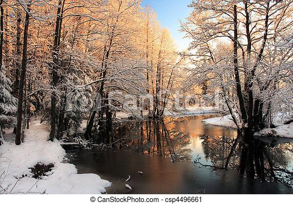 luz, río, invierno, salida del sol - csp4496661
