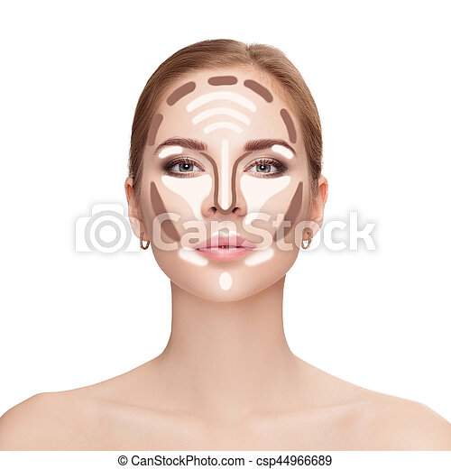 Contouring. Make up woman face on white background.  Professiona - csp44966689