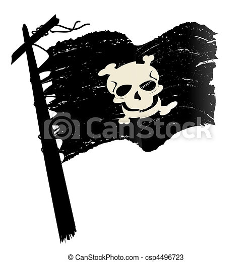Drawings of Grunge pirate flag - Sketch with pirate flag over ...