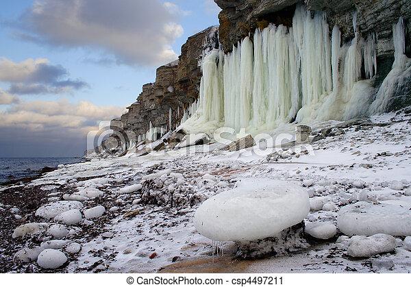 Frozen shoreline - csp4497211