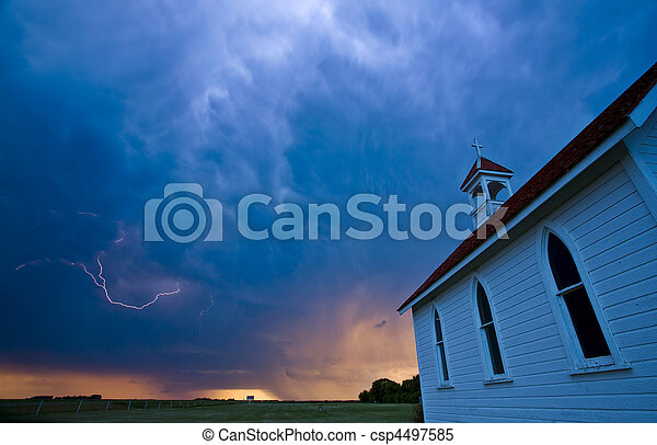 Storm Clouds over Saskatchewan country church - csp4497585