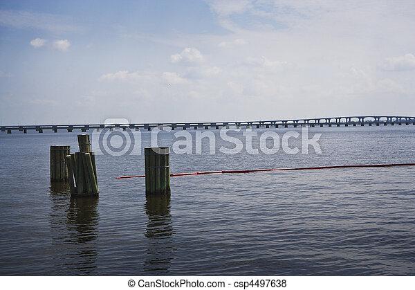 Red Oil Boom & Bridge, Gulf Coast
