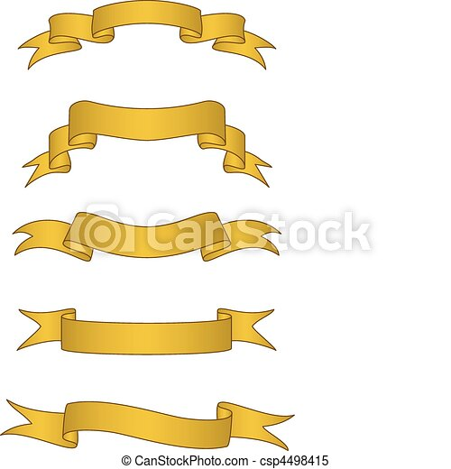Vector Gold Scroll Banners - csp4498415