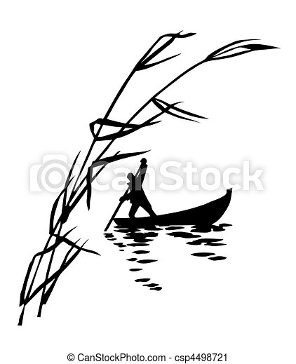 illustration of the person in boat - csp4498721
