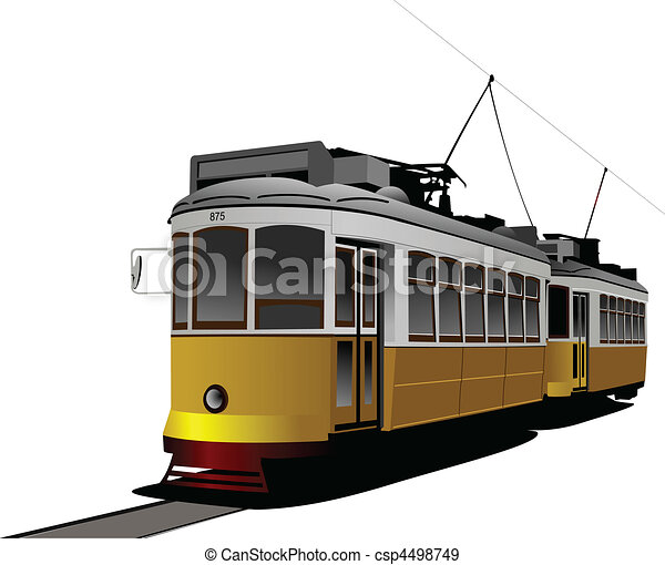 City transport. Tram. Vector illus - csp4498749