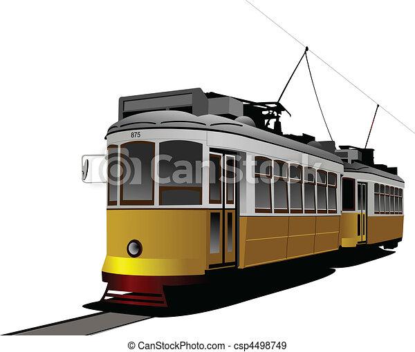 City transport. Tram. Vector illus - csp4498749
