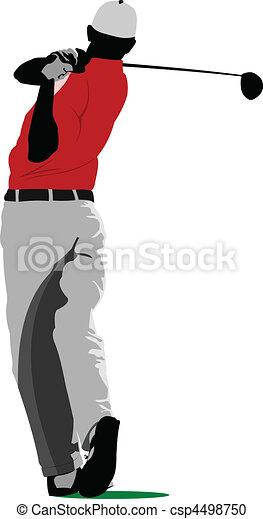 Golfer hitting ball with iron club - csp4498750