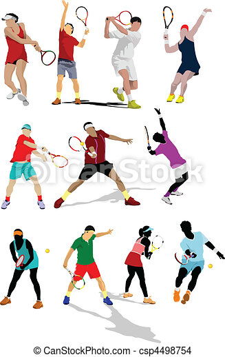 Poster tennis player. Colored Vect - csp4498754