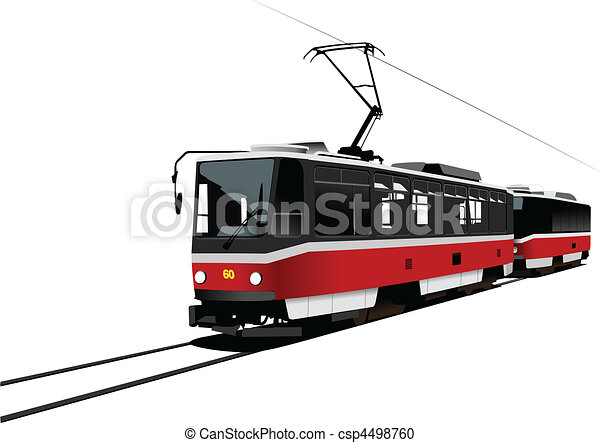 City transport. Tram. Vector illus - csp4498760