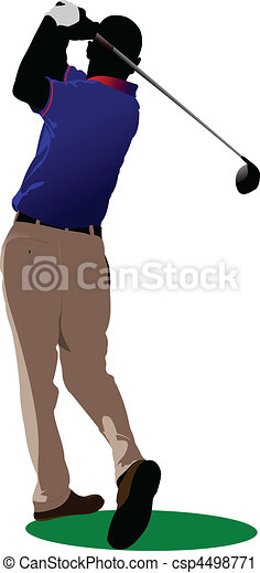 Golfer hitting ball with iron club - csp4498771