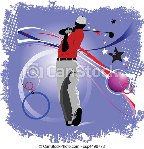 Golfer hitting ball with iron club - csp4498773