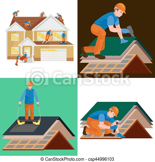 vector roof construction worker repair home build structure fixing rooftop tile house with labor