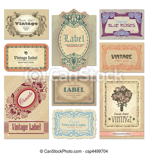 vintage labels set (vector) - csp4499704