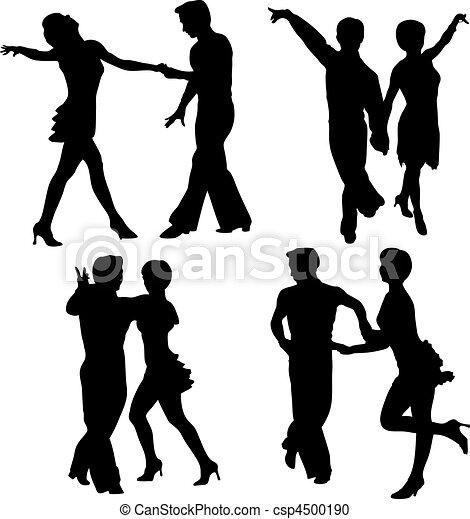 Vector Clip Art de vector, Siluetas, bailando, hombre, mujer ...