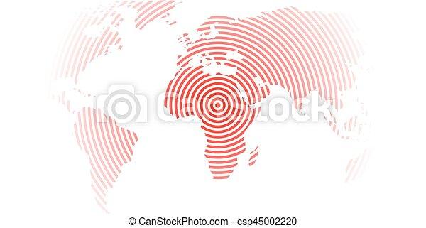 mapa, moderno, epicentro, papel pintado, anillos, theme., fondo., blanco, vector, diseño, mundo, concéntrico, terremoto, rojo - csp45002220