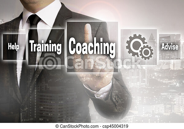 Coaching businessman with city background concept.