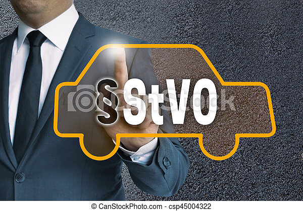 StVO auto touchscreen is operated by businessman concept.
