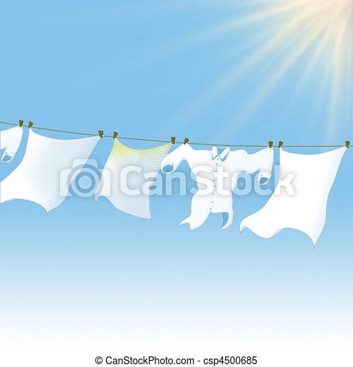 clean cloths lying in the sun - csp4500685