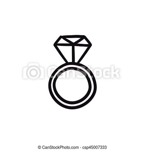 Diamantring gezeichnet  Vektoren von verlobung , skizze, diamantring, icon. - Engagement ...