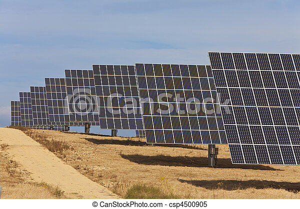 A Field of Green Energy Photovoltaic Solar Panels  - csp4500905