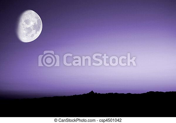 紫色 日落, 月亮 精選照片