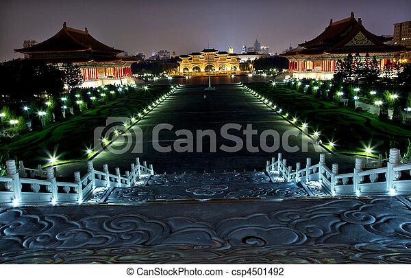 National Concert Hall and National Concert Hall from Chiang Kai-Shek Memorial Monument Hall Taipei Taiwan at Night  - csp4501492