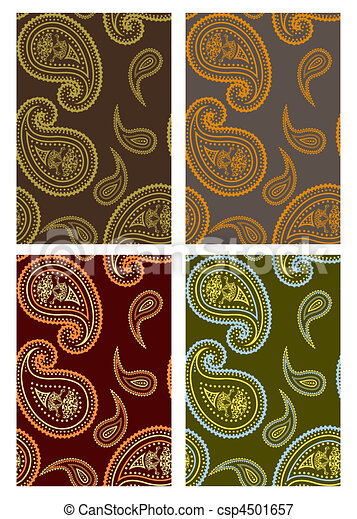 Set of vector seamless paisley back - csp4501657