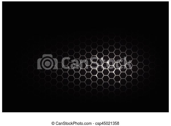 Dark and black with metal honeycomb pattern vector illustration eps 10 - csp45021358